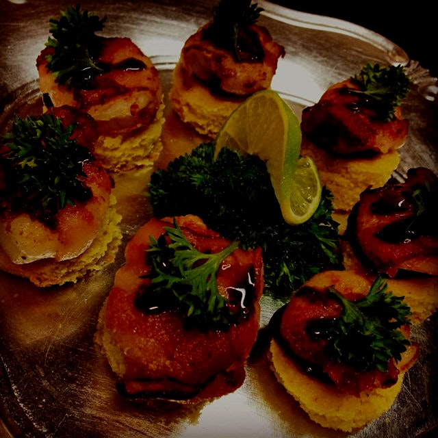 """Bacon-Wrapped Paprika'd Shrimp served on Buttermilk Cornbread Toasts"" #EasyEntertainingWeek #Cre..."
