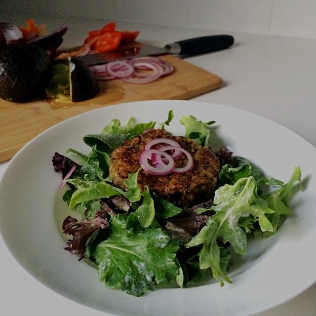 Vegan Lentil freekeh burger!