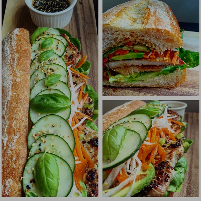 Grilled pork banh mi sandwich for a lunch event today