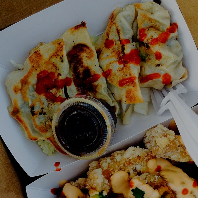 Music festival food gets an upgrade with moyzilla's dumplings, stuffed with tofu, carrot, edamame...