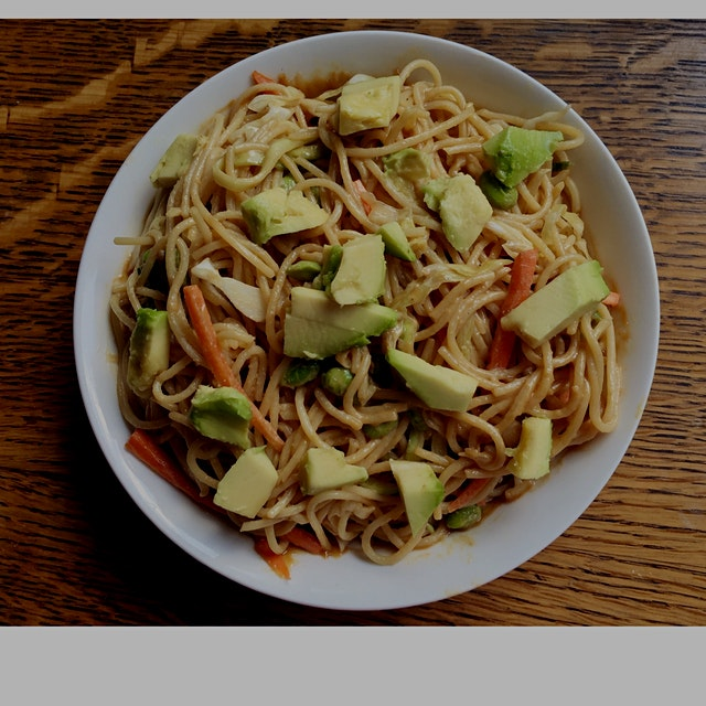 Thai inspired peanut noodle salad