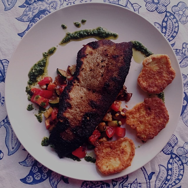 Last night's dinner was one of my favorites! Pan seared trout with local summer vegetables, corn ...