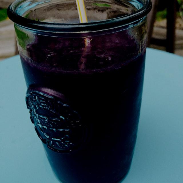Blackberries, cashew milk, raw honey