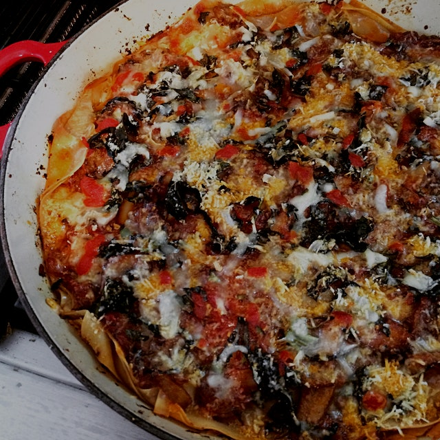 """Leftover egg roll wrappers? Leftover odds and ends cheese? """"Lasagna""""!"""