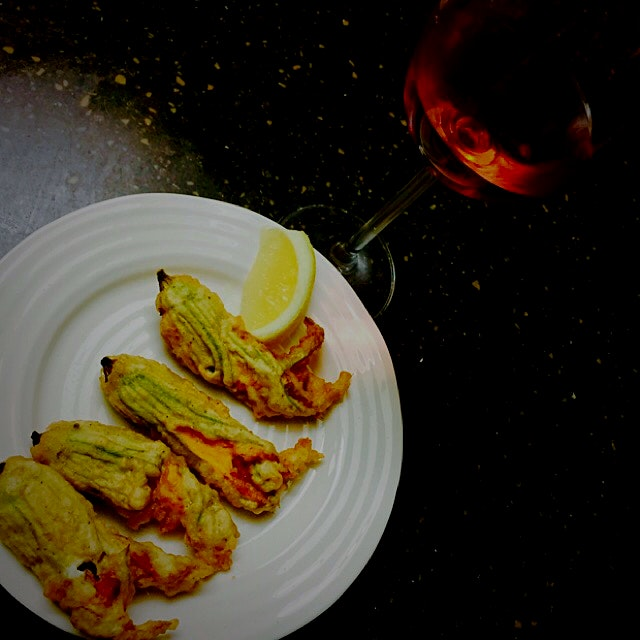 My treasure at the Farmer's Market today was Zucchini Flowers that I adore. I stuffed them with s...