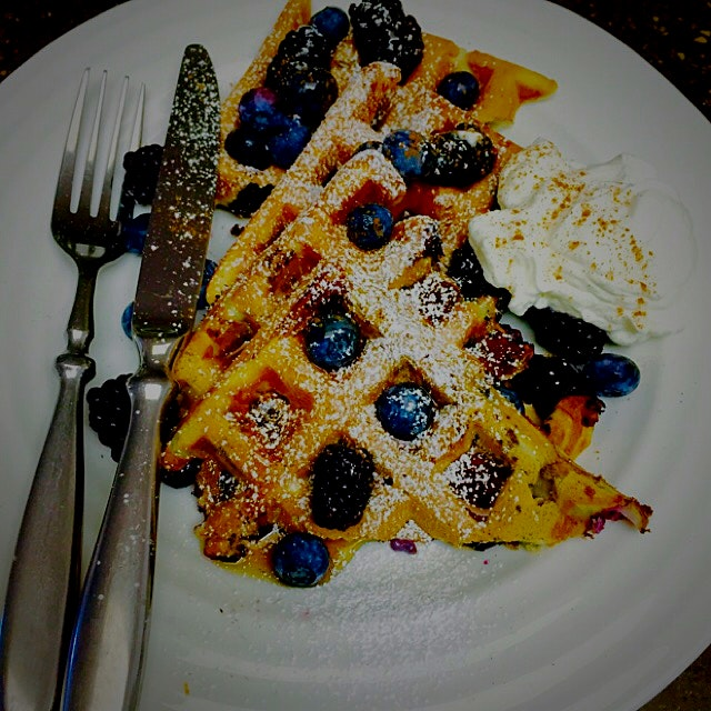 Sunday morning treat for my hubby!! Homemade waffles. I put the fruit in the batter as well as ch...