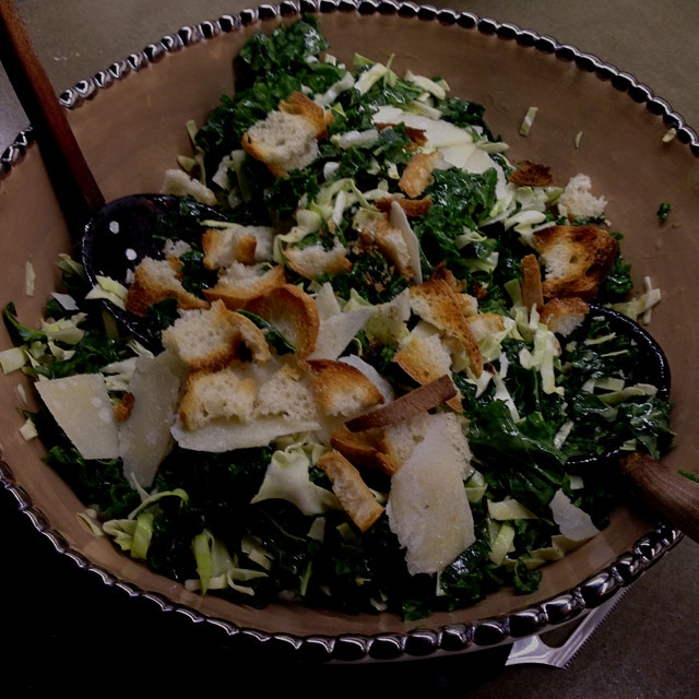 Last nite's Kale Caesar -- my mom massaged the kale to tenderize, and that made all the difference!
