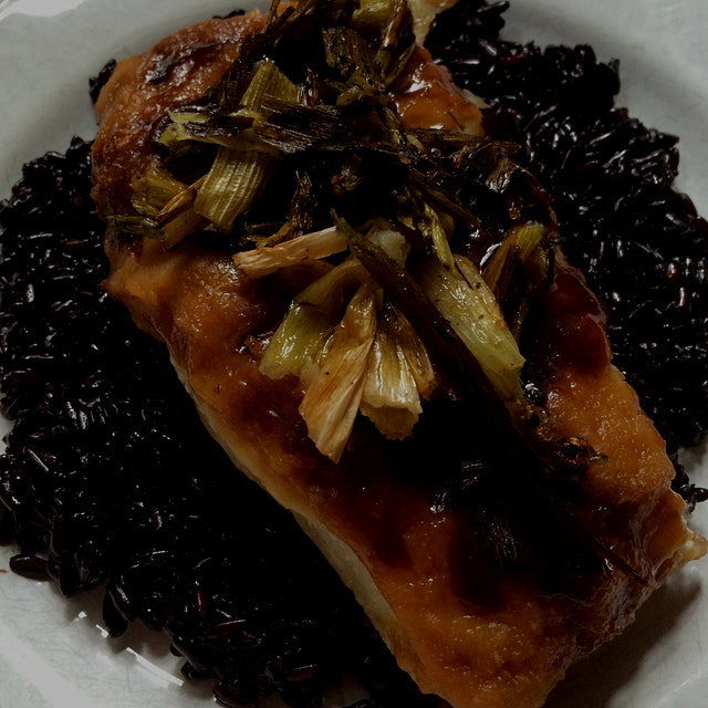 Purple Thai rice, Miso glazed halibut, roasted scallions  #homemade