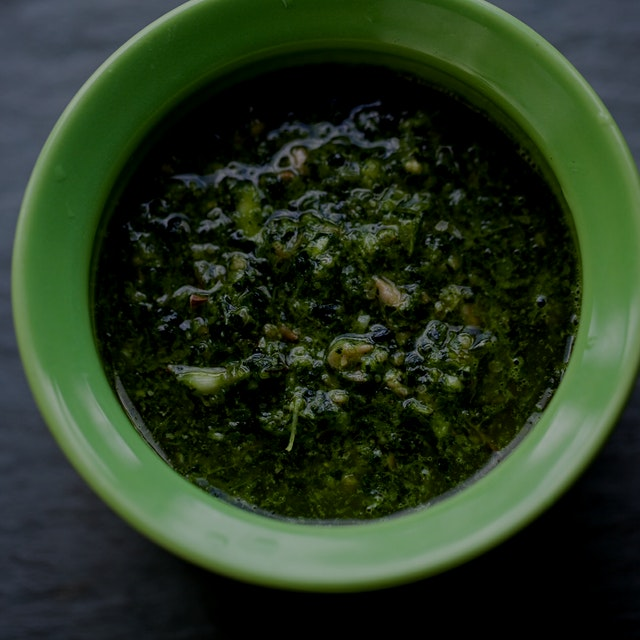 Whipped up some kale pesto and instead of pine nuts, I used some sunflower seeds. POW!!!