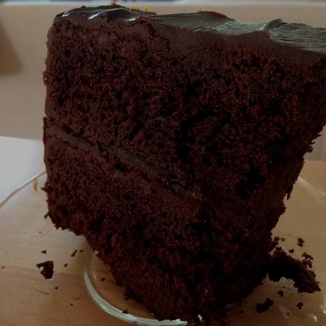 Last slice of Friday's cake. Amanda Hesser's Dump Cake