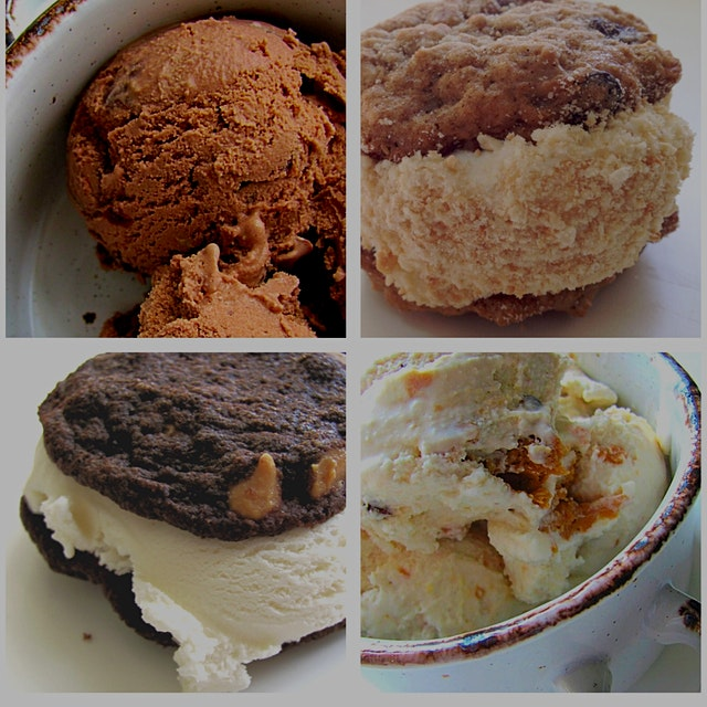 Chocolate trail mix ice cream, almond ice cream sandwich with oatmeal raisin cookies, peanut butt...