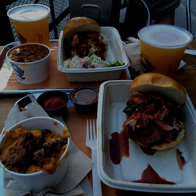Pulled pork sandwiches with Bell's Oberon Ale from my favorite Manhattan bbq spot.
