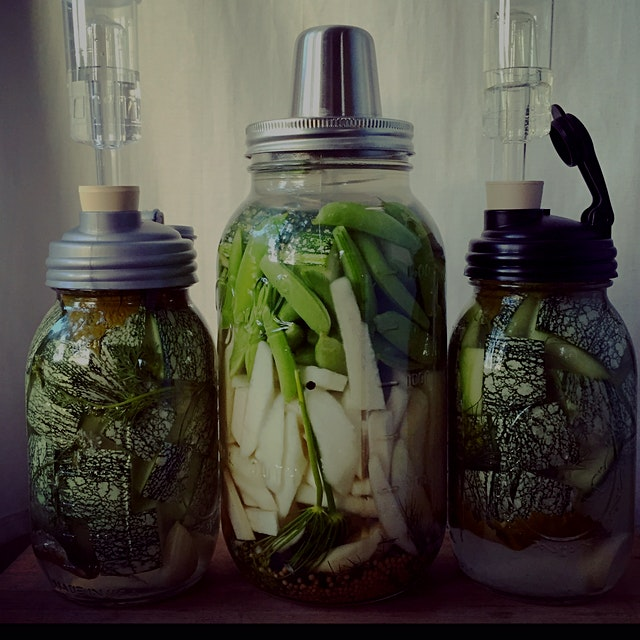 Saving summer by fermenting pickles!     Jar 1 Cilantro ronde de nice pickles Jar 2 Dill ronde de...
