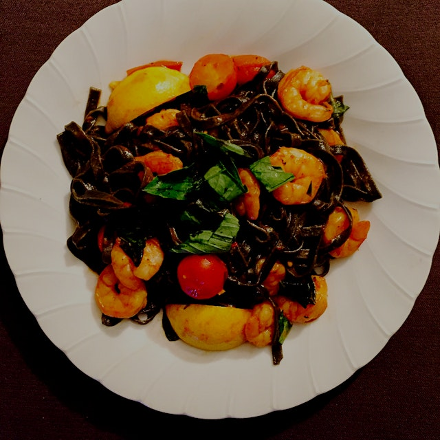 My first foray into @BlueApron! Squid Ink Linguine with Shrimp! Wait, does this mean I can cook? ...