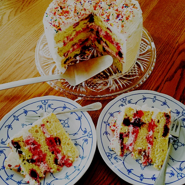 Lemon Blueberry Cake with Raspberry Cream Cheese Frosting. In NYC I got some cool sprinkles from ...