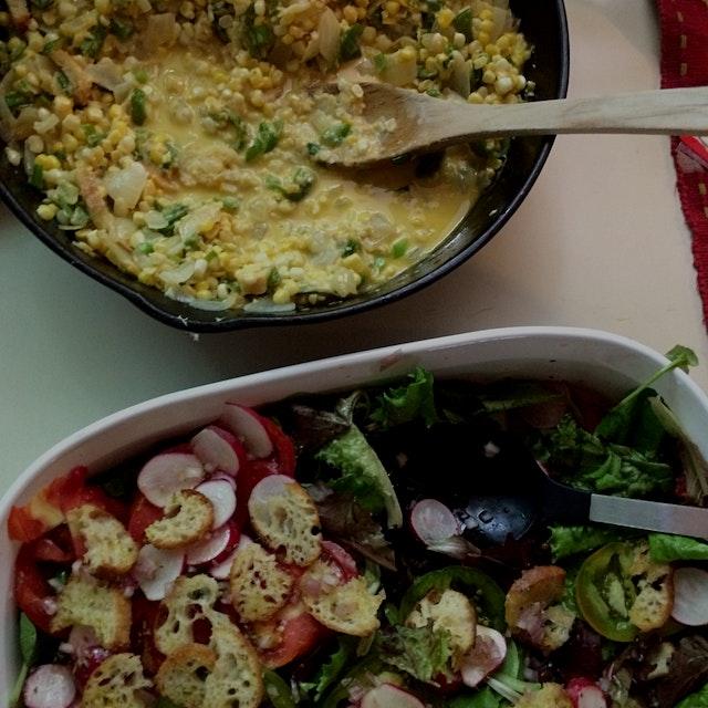 local Hamptons' cream of corn and fresh salad