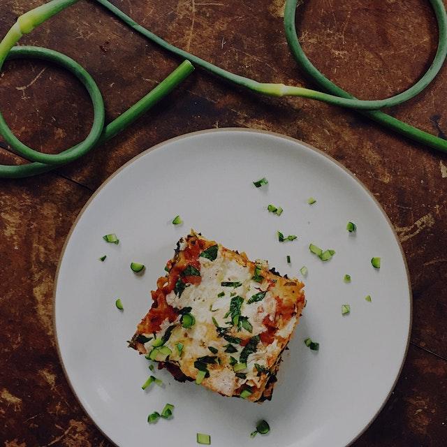 garlic scape & summer veggie lasagna