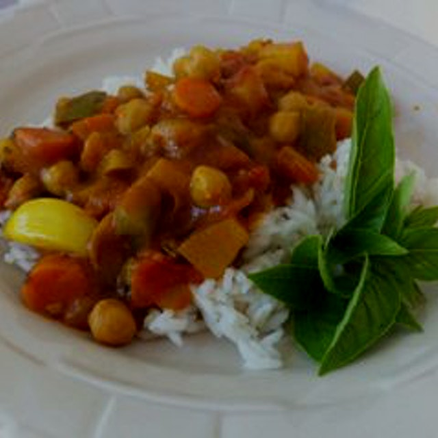 Some homemade Indian curry with veggies from the garden we could see through the window. Fresh ba...