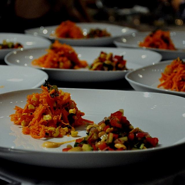 Salad Duo - Corn & Carrot Kosambari (South Indian) & Peanut Chaat (North Indian)