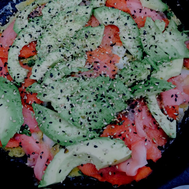 Smoked salmon, avocado, picked ginger, black sesame seed omelet