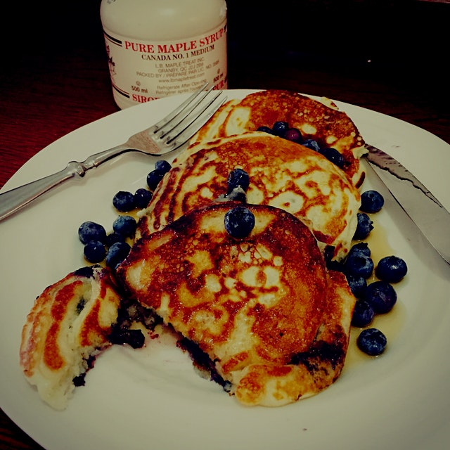 Made pancakes with our fresh blueberries!!!