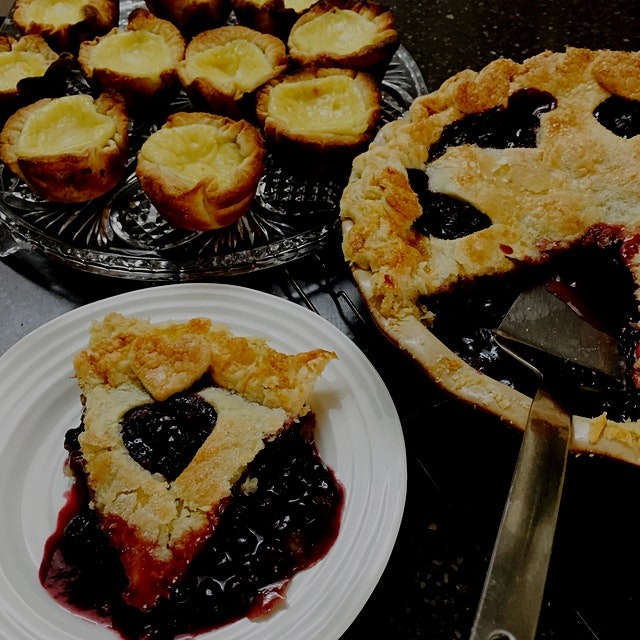 After picking the berries, I promised my hubby a pie! Blueberry, Blackberry Pie. My son, Portugue...