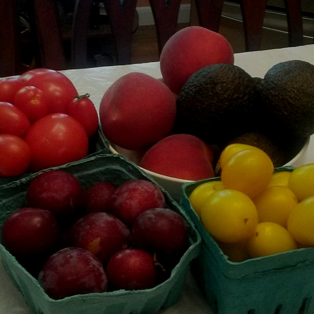 Real fresh and flavorful red tomatoes red plums and red peaches from Westchester farm share. #red...