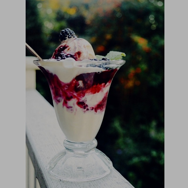 Blackberry-mint compote with chocolate sauce on vanilla ice cream. I'm telling you, blackberry an...