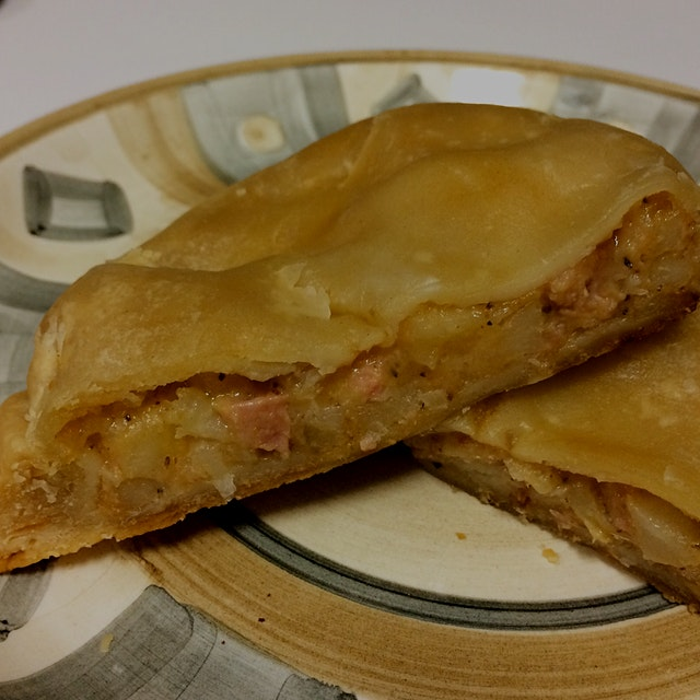 Ham and Cheese pasty from Dobber's in Escanaba, MI. Basically, it's a pot pie sandwich. Pasties w...
