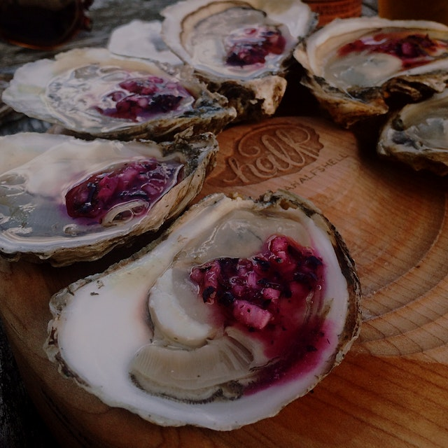 Just created a new summer-inspired oyster accoutrement! Blueberry mignonette is perfect on a doze...