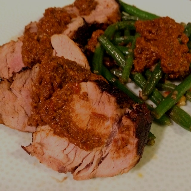 Coffee Rubbed Pork Tenderloin with Pan Jus, Green Beans and Romesco Sauce. Made at home.