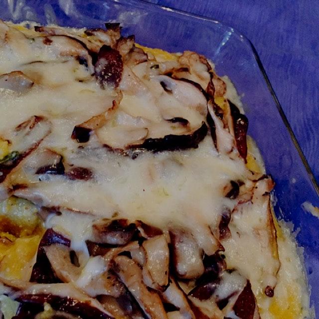 Mushroom polenta with fontina cheese. Recipe at nycdish.wordpress.com
