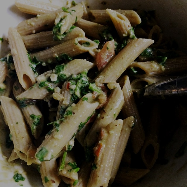 Today's rainy day working from home lunch is whole wheat penne pasta with a spinach walnut and cu...