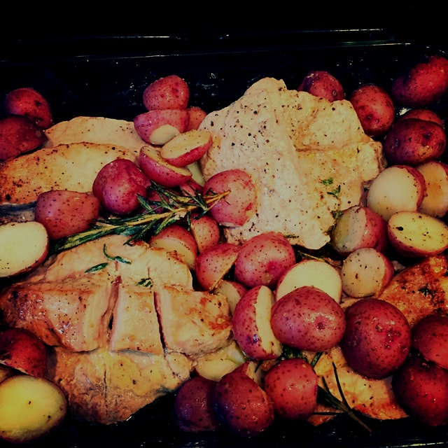 These amazing butterflied pork loins, local grown potatoes and home grown herbs don't need anythi...