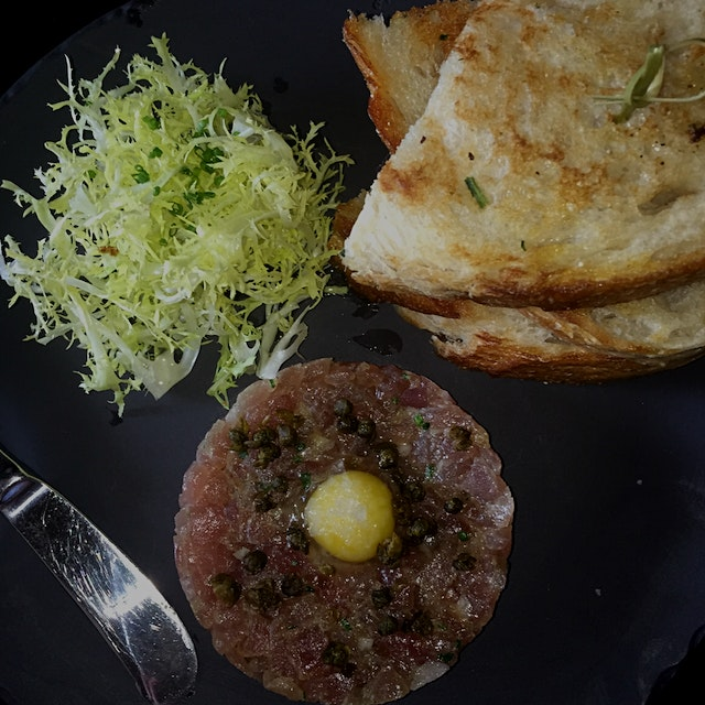 Tuna tartare with quail egg. Delish.