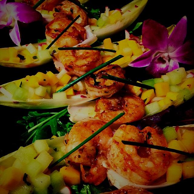 Mango Shrimp Cocktail Boats w/ a Honey Mint Dressing