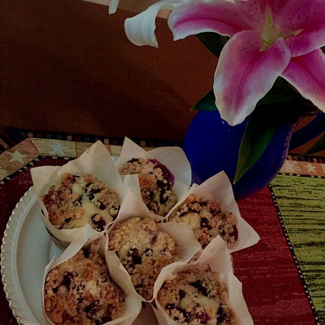 Blueberry Streusel Muffins. Enjoying an evening with friends before they fly home.