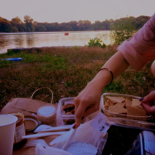 Perfect picnic in Prospect with pink sunset and rosé in plastic cups. Gooey goat cheese, artisana...