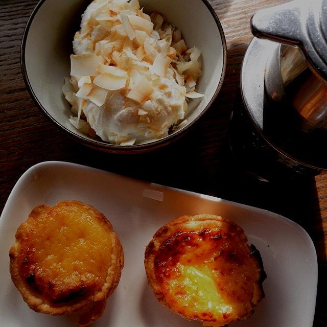 The best of Southeast Asia: custard tarts (Portuguese-style), salted coconut & mango ice-cream, V...