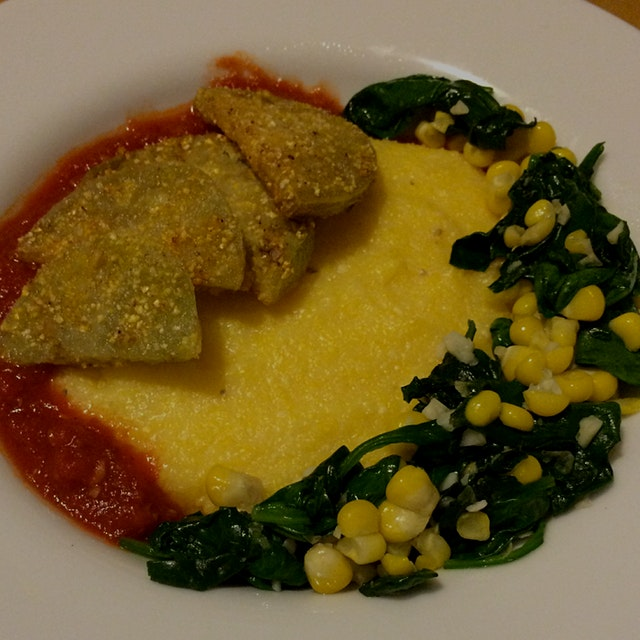 polenta with tomato sauce, garlicky spinach & corn, and fried green tomatoes