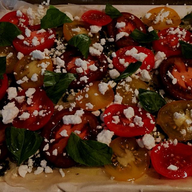 Tart using Campari, Kumato and Angel Sweet tomatoes grown by Sunset Produce.