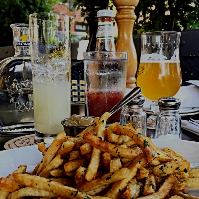 Our late brunch is turning into early dinner. Frites and mustard (yes mustard is way better than ...