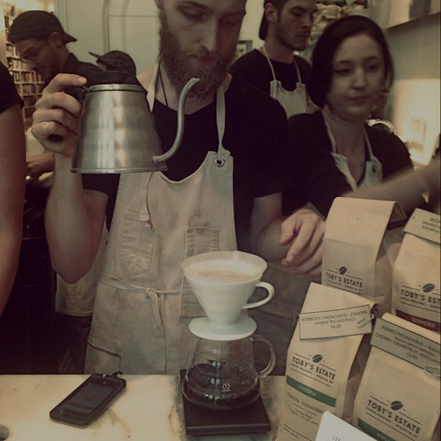 Epic pourover tutorial from Barista Adam @tobysbrooklyn with fair trade Ethiopian Beans. 1.75 gra...