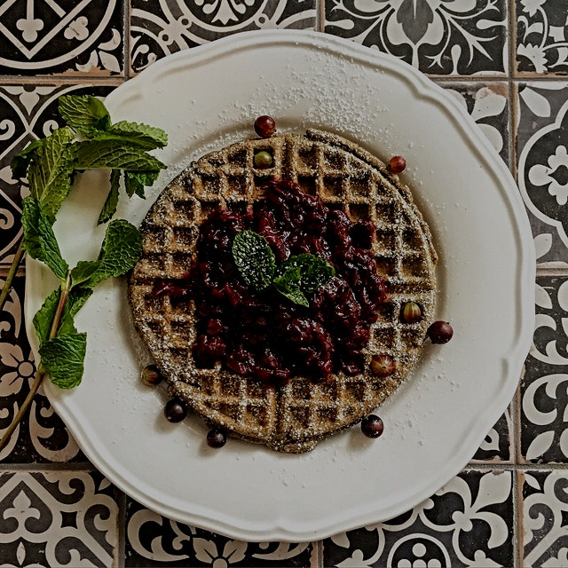 Breakfast: to make up for it being Monday. Buckwheat waffle with Gooseberry compote.  And then I ...