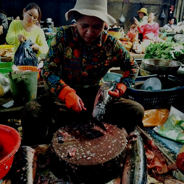 Ladies dominate fish and meat butchery at the Old Market in Siem Reap. This #ladyboss was going t...