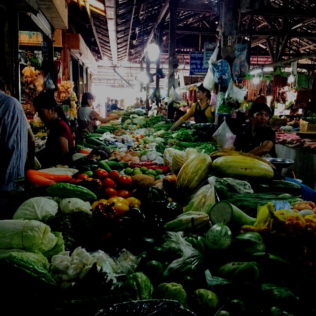Bustling scene at the Old Market in Siem Reap! Right before our cooking class to learn traditiona...