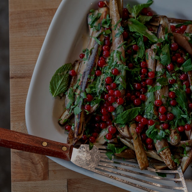 Roasted eggplants bedecked in red currants and mint!