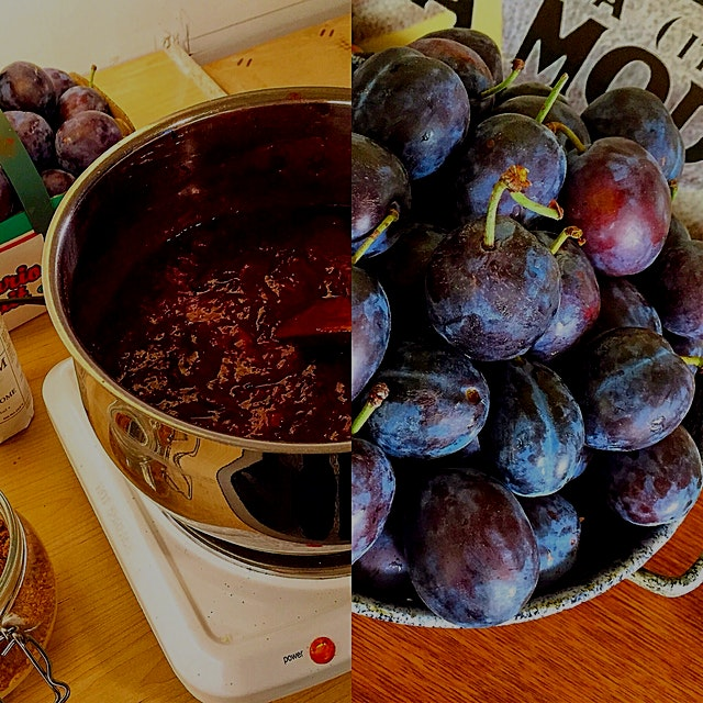 The hot plate and I have a date with these plums. Making Plum Butter. Cause that's how we role on...