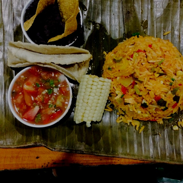 Arroz Con Pollo Served with Salsa, Bean & Tortilla.  Authentic Costa Rican Dinner at La Casona De...