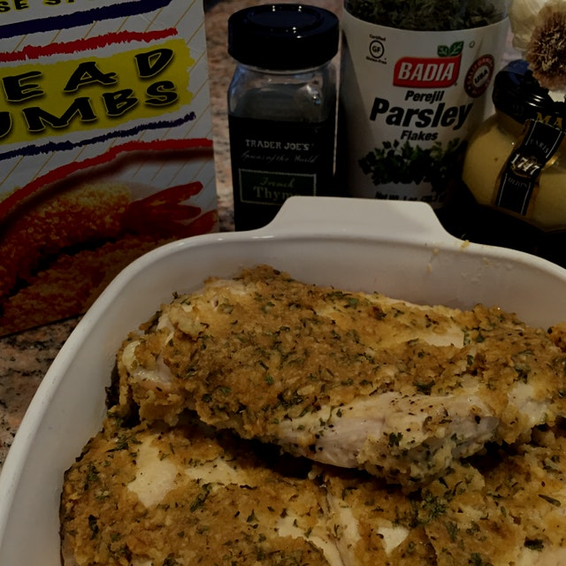 Mustard herb Panko crusted chicken breast- easy and yum